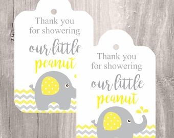 Yellow Elephant Printable Tags, Instant Download, Baby Shower Favor Tags, Little Peanut Yellow Elephant Printable Tags, Neutral Baby Shower