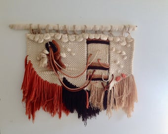 LAUREL CANYON authentic 1960's 1970's boho wall hanging fibre art earth tone woven tapestry wool yarn extra large statement wall art