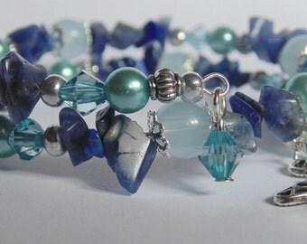 Memory Wire Gemstone Blue Bracelet