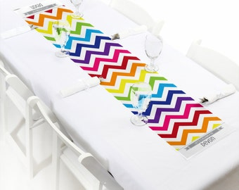 Chevron Rainbow Petite Table Runner - Custom Baby Shower, Birthday Party, Bridal Shower or Everyday Decorations-Personalized Party Supplies