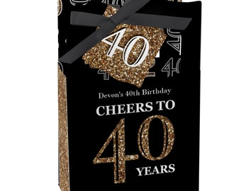 40th Birthday Party Favors for Birthday Parties - Favor Boxes - Adult 40th Birthday - Gold Party Supplies - Set of 12