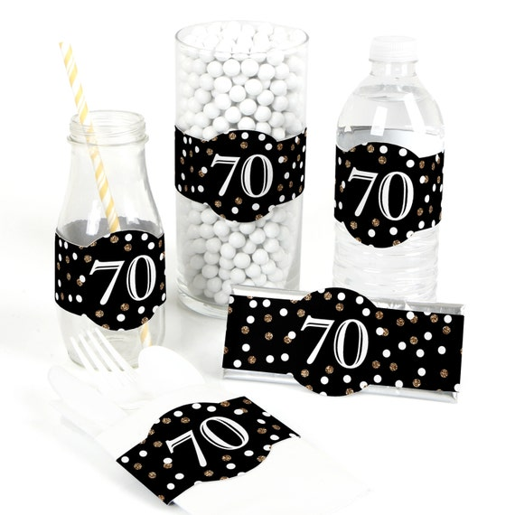 70Th Adult Birthday - Gold Diy Party Supplies - Birthday Party Diy Wrapper Favors -4582