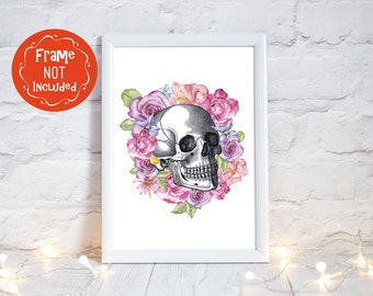 Skull Print, skull gifts, Goth Wedding, Alternative Wedding, Anatomy print, skull Decor, skulls and roses, day of the dead art, PRINT ONLY