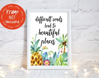 Positive Quotes, Tropical print, Inspirational Quote, Positive affirmations, Positive Thinking, Inspirational prints, Gift for women