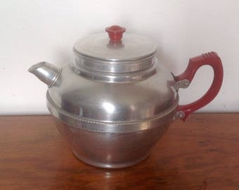 Aluminium Teapot, Red Handles, Built In Strainer. 1940's/50's.