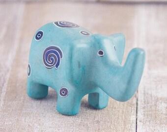 Soapstone Elephant Robin's Egg Blue