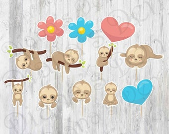 Sloth Toppers/Sloth Tag/Sloth Label/Sloth Birthday Party/Party Sloth Toppers/Sloth First Birthday/Cute Sloth Toppers/Sloth Theme/Sloth Party