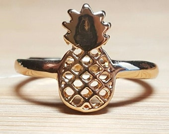 Cutout Pineapple Ring, Gold or Silver Plated, In Stock, Perfect For Fans Of Delicious Flavor, Great Gift!