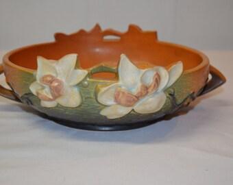 Roseville Magnolia - Console Bowl 448-8 - Brown Burnt Sienna Matte Finish - Mark Indicates Production Post 1940s - Art Deco - Craftsman