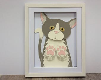 Curious Cat. Hand cut and assembled childrens art. Professionally framed. Unique childrens gift.