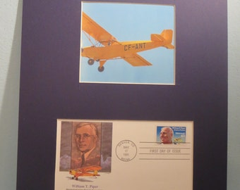 Airplanes and Aviation - William Piper develops The Piper Cub Airplane and First Day Cover of its own stamp
