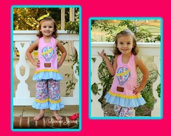 Hot Air Balloon Outfit, Hot Air Balloon Festival, Girls Applique, Girls Summer Outfit, Balloon Outfit, Balloon Dress, Toddler Girls,