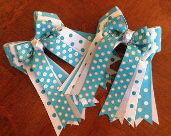 Horse Show Hair Bows/Equestrian Clothing, Gift/Turquoise White Silver Sparkle