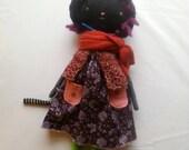 "spunky black cat lu girl - 14""ish handmade cloth cat doll"