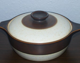 Denby Authentic English Stoneware Brown Band Covered Casserole Dish. Handmade in England.