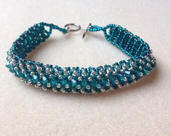Beaded Swarovski Crystal Bracelet-Teal-8 in.