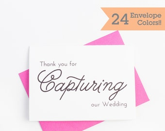 Photographer Thank You Card, Thank You for Capturing Card, On Wedding Cards (WC176-PL)