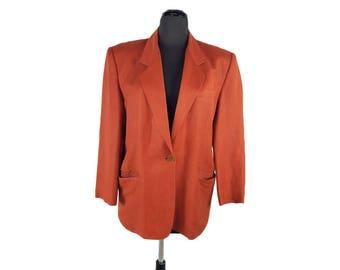 Vintage 1990s Liz Claiborne Linen / Rayon Rust Blazer (Size 6)