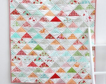 Modern Baby Girl Quilt- Triangles on point pattern using Bonnie and Camille fabrics