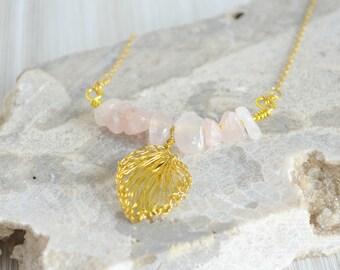 Rose Quartz Pendant - Modern Bar Necklace