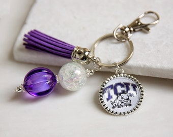 Texas Christian University Key Chain, TCU, TCU Horned Frogs, Purple and White, Game Day Key Chains, Game Day Gifts, College Gifts, GameDay