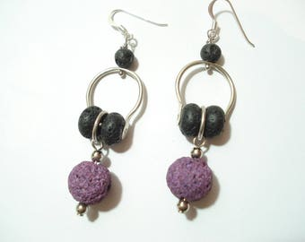Black and Purple Lava Contemporary Hoop Earrings Hammered Silver  Wire Volcanic Lava Riveted Hoop Earrings Unique Sterling Silver Earrings