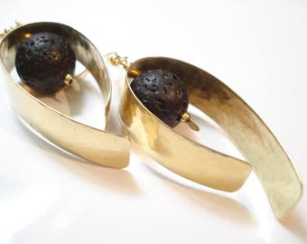 Hammered Bronze Santorini Black Lava Hoops Earrings  Contemporary Metalwork Bronze and Black Lava Earrings