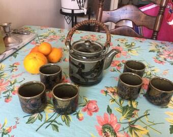 vintage tea pot and tea cup set/tea/tea kettle/tea/ceramic tea pot/pottery/tea set