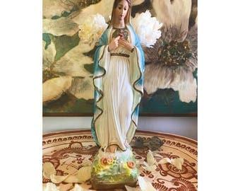 vintage Virgin Mary sculpture/virgin mary/religious home decor/vintage/vintage Virgin Mary/home decor/ceramic Virgin Mary