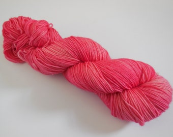 Raspberry Hand Dyed Superwash Merino Semi Solid Sock Yarn