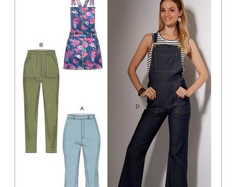 McCall's Pattern M7547 Misses' Flared Jeans and Overalls, Skinny Jeans, and Shortalls