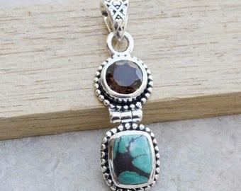 Tibetan Turquoise, Smoky Quartz Gemstone Pendant, Solid 925 Sterling Silver Pendant Jewelry,  Turquoise Pendant, Birthstone Gift Necklace