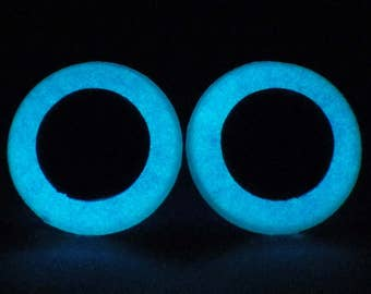 20mm Glow In The Dark Safety Eyes, Metallic Blue Safety Eyes With Blue Glow, 1 Pair Of Plastic Safety Eyes