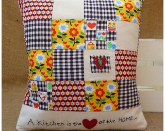 Kitchen Cushion, Retro Cushion, Retro Kitchen, Vintage Kitchen, Vintage Cushion, Flowers Cushion, Kitchen Quote Cushion, Decorative Pillow