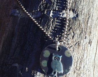 Vintage owl pendant sterling silver necklace