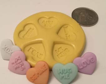 Candy Valentines word hearts Silicone Mold