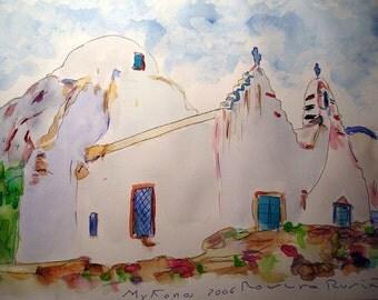 MYKONOS Greek Islands-Original watercolor/Zriskia/Mykonos/Historic Church
