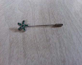 Vintage Starfish Stickpin with Green Rhinestones