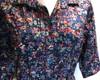 Liberty of London Dress - Vintage Short Sleeve Floral Dress - Made in England - Cotton Size 14