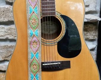 Aztec Pastel Beaded Guitar Strap; Statement Guitar Strap; Unique Custom Guitar Straps; Handmade Straps; Ukulele Straps; Guitar Straps