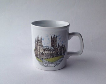 Vintage Mug Canterbury Cathedral, Kilncraft Pottery Mug English Souvenir Kent