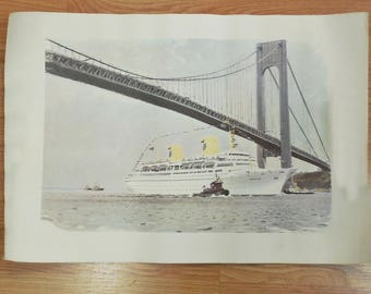 "Clearance - Albert Brenet Swedish American Line MS Kungsholm Print 1966 - 22.5"" x 15.25"""