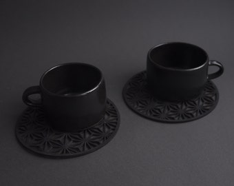 Set of 2 tea or coffee espresso cup, black matte minimal monochrome, nordic rustic, handmade handcrafted wheel thrown