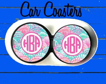 Car Coaster,Personalized Car Coaster, Lilly Pulitzer Inspired, Cup Holder Coasters,Monogrammed car coaster, Gift, Party Gift