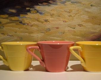 Homer Laughlin Harlequin Coffee Tea Cups Yellow Tangerine Orange Set of 3