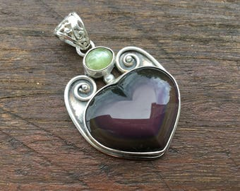 Rainbow Obsidian & Chrysoberyl Sterling Silver Pendant ~ The Unconditional Love Stone