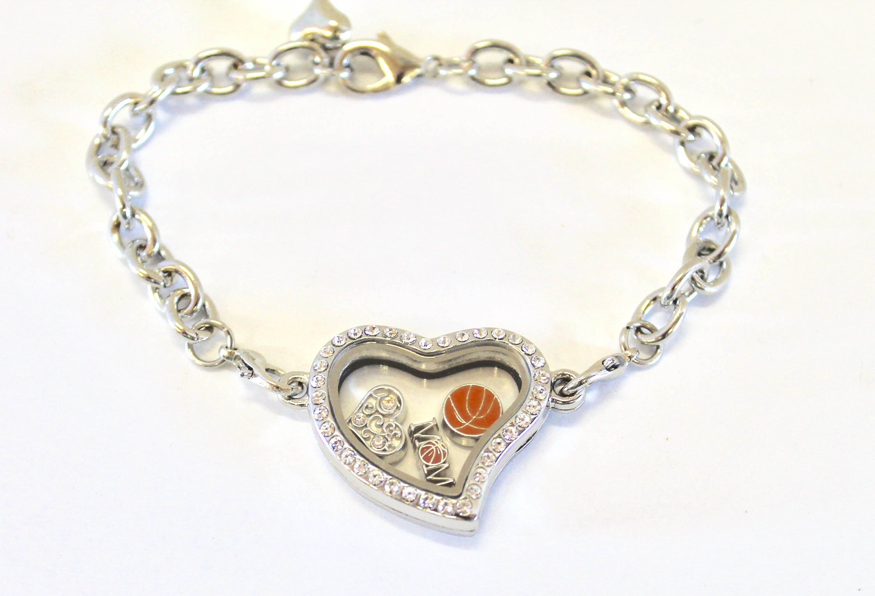 island heart sterling long bracelet locket silver pave inches pav diamond