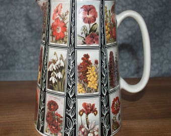 Vintage-Style Large Amberglade Pottery Floral Jug With Pattern From Cigarette Cards