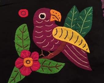 Mola Textile:  Deep Violet Tropical Bird on Branch