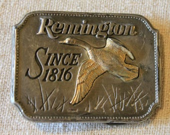 Vintage Remington 1980 Pewter Canada Goose Belt Buckle